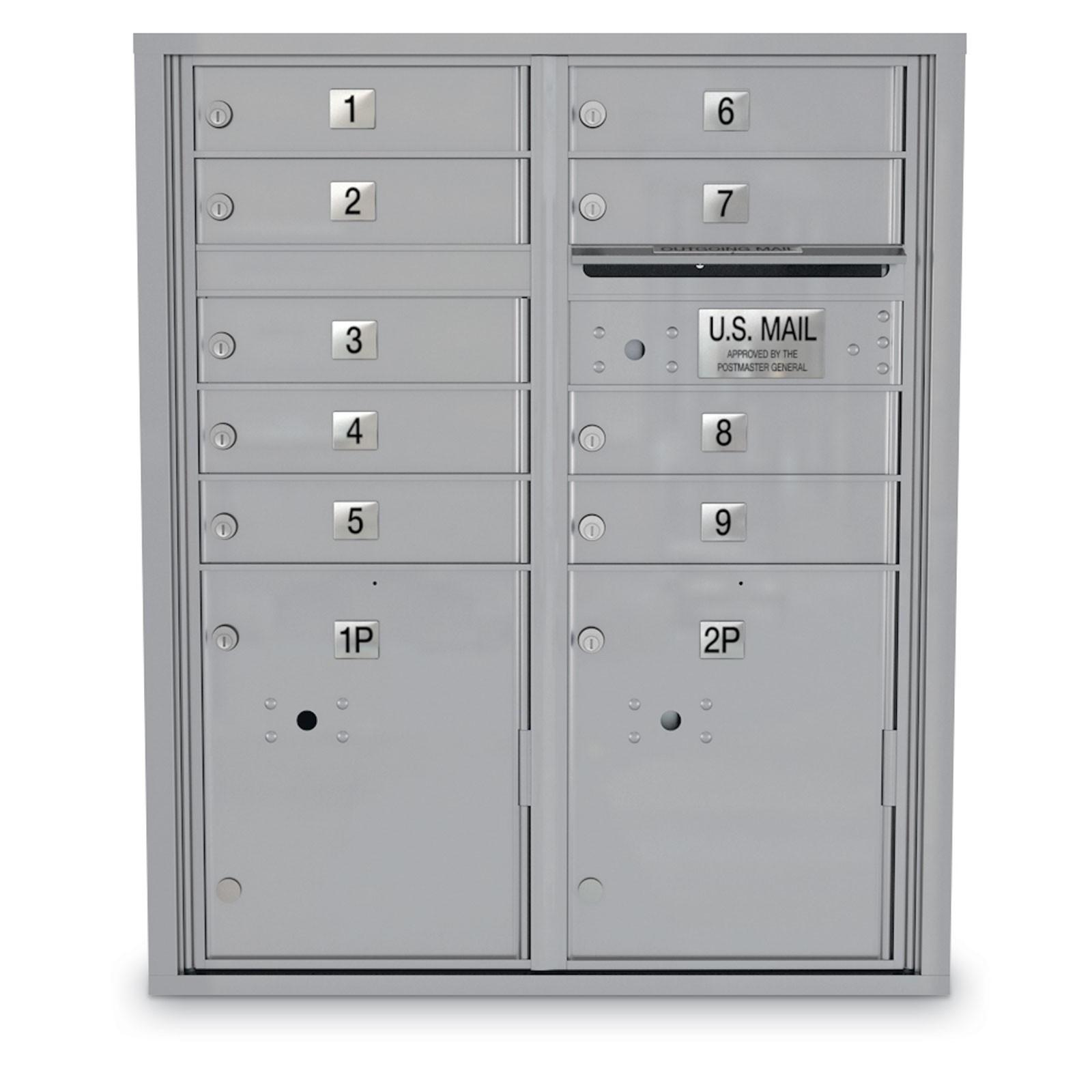9 Door 4c Horizontal Mailbox 2 Parcel Lockers