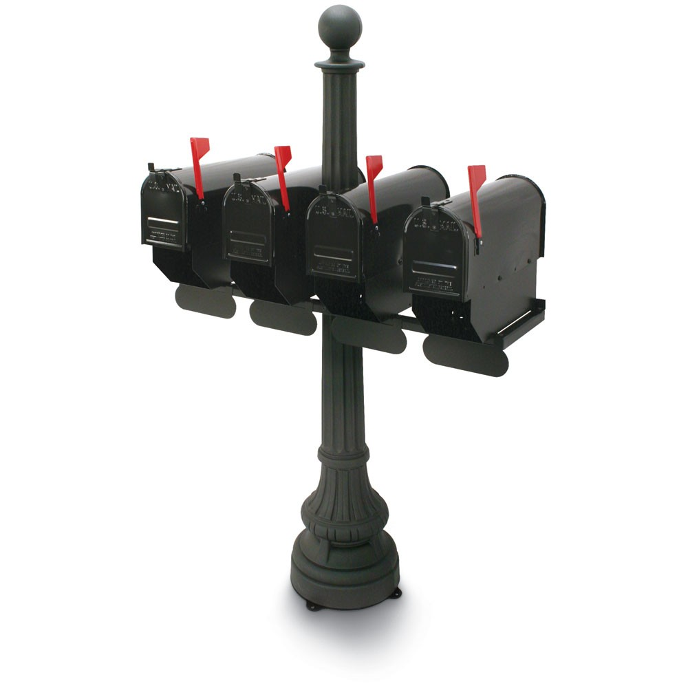 Carrington Classic Colonial Quadruple Residential Mailboxes & Post