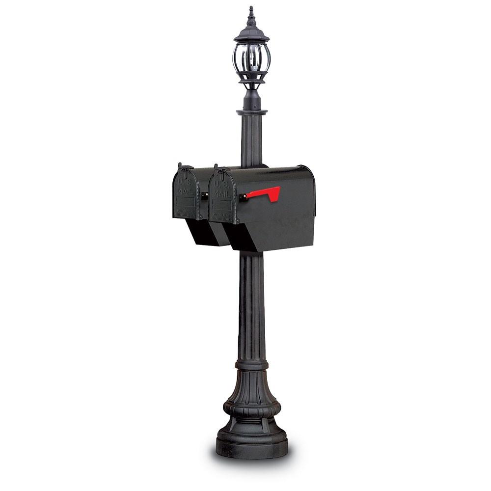 Illuminated Sarasota Classic Colonial Mailbox - Black