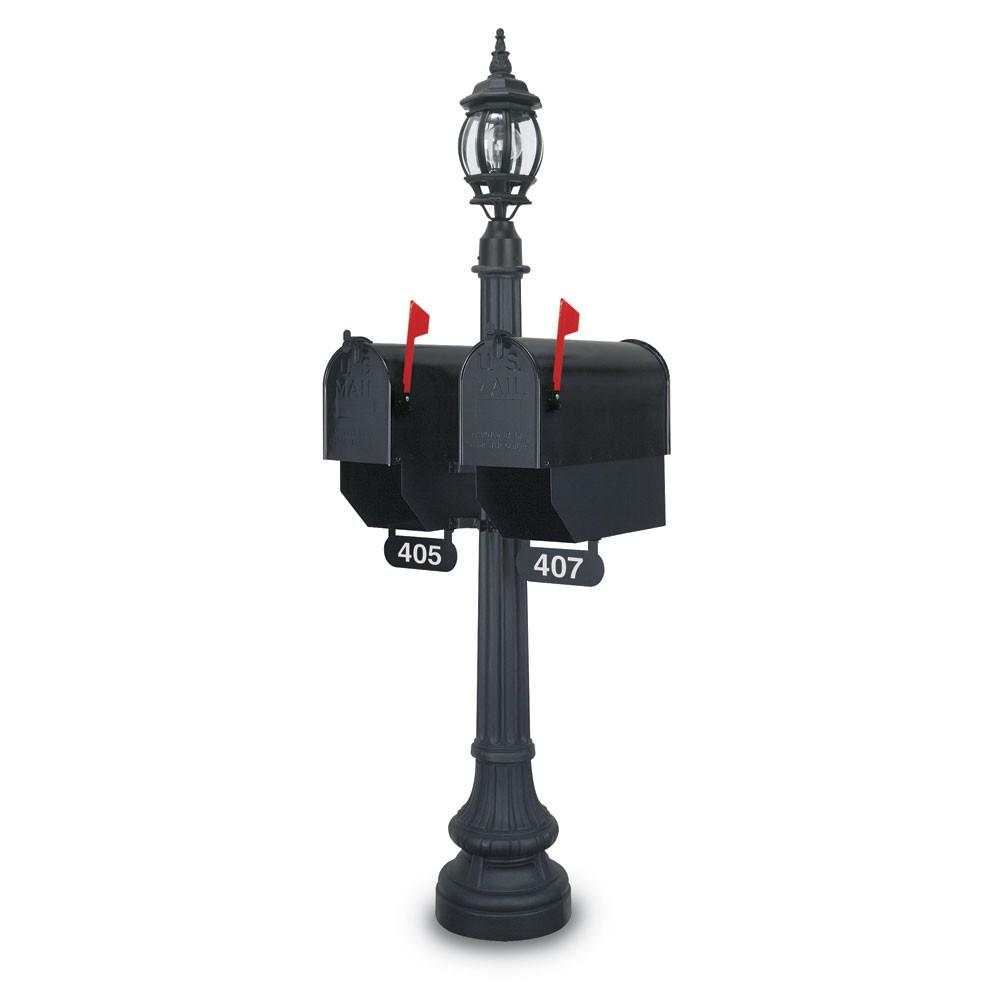 Illuminated Monroe Classical Colonial Mailbox - Black