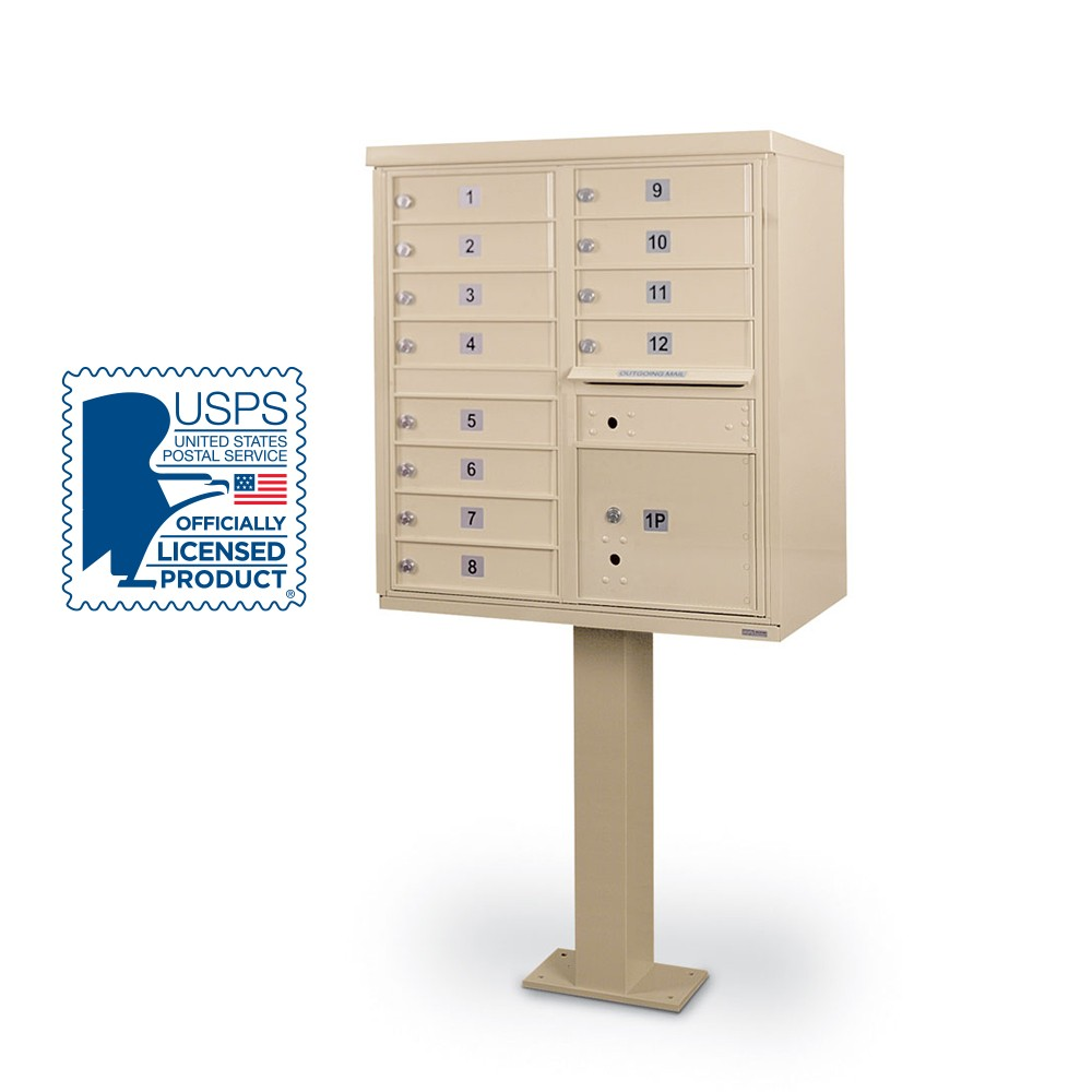 12 Door F-Spec Cluster Box Unit with Pedestal, Sandstone