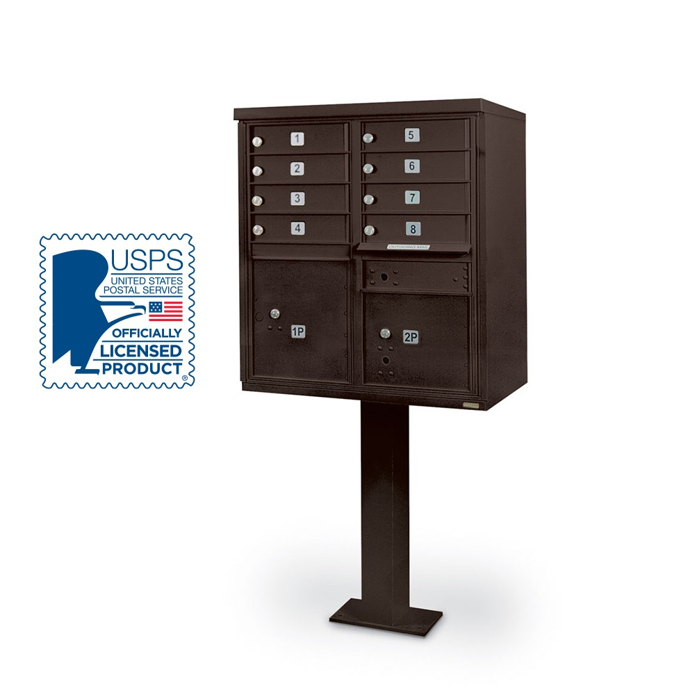 8 Door F-Spec Cluster Box Unit with Pedestal, Bronze