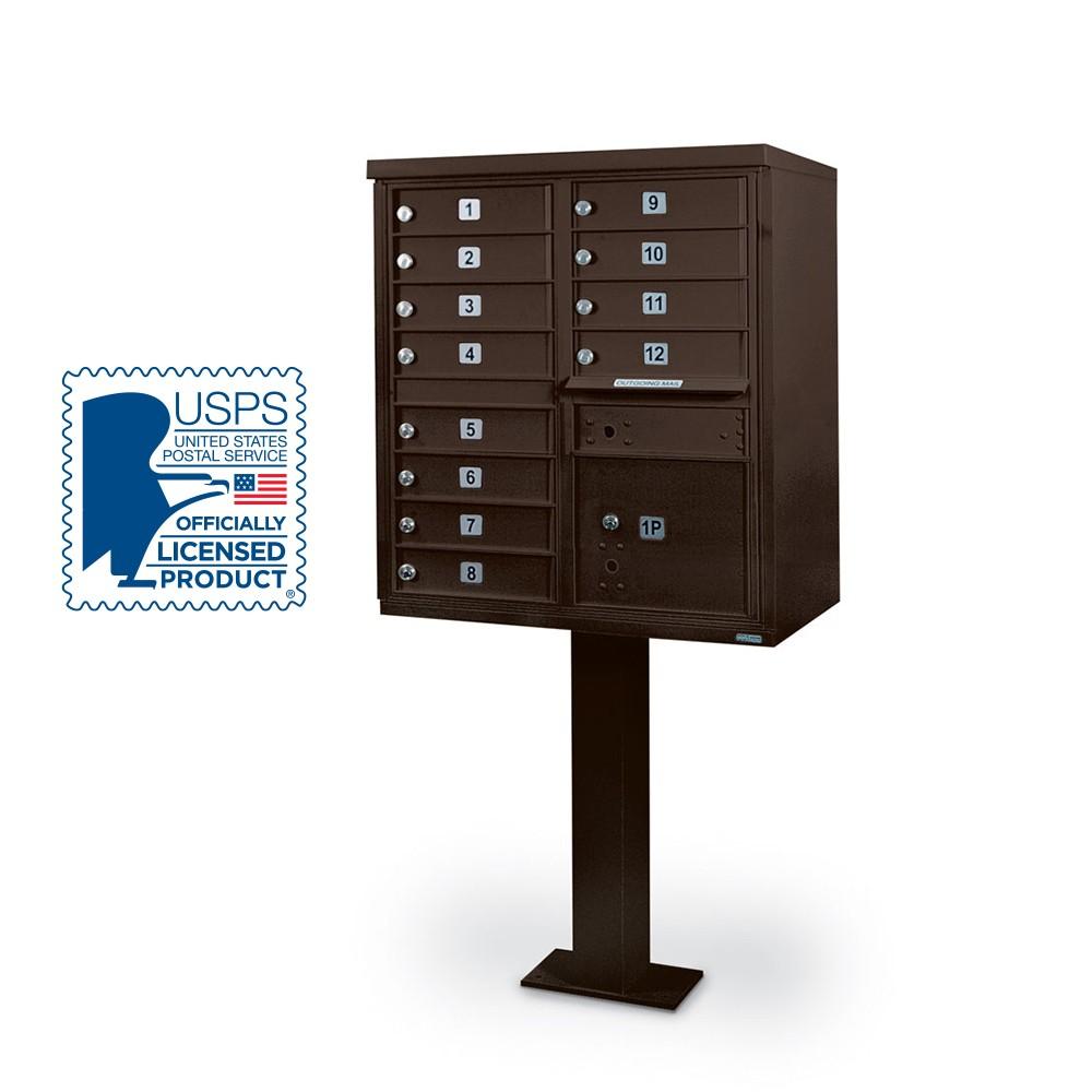 12 Door F-Spec Cluster Box Unit with Pedestal, Bronze