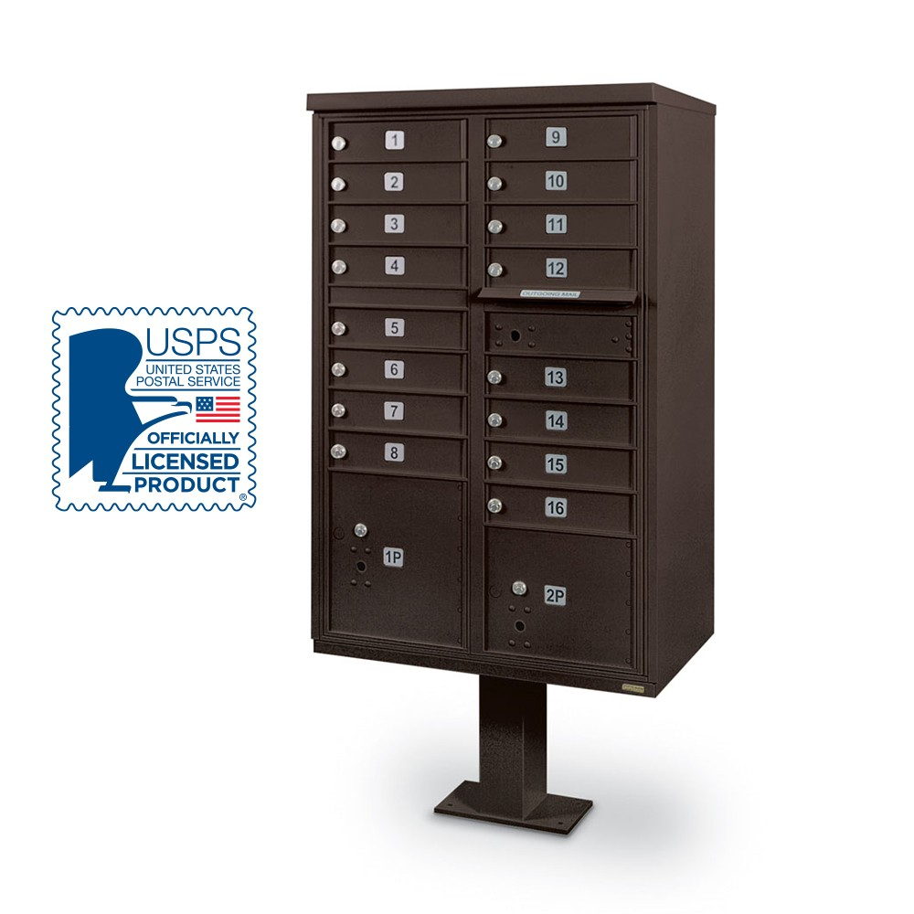 16 Door F-Spec Cluster Box Unit with Pedestal, Bronze
