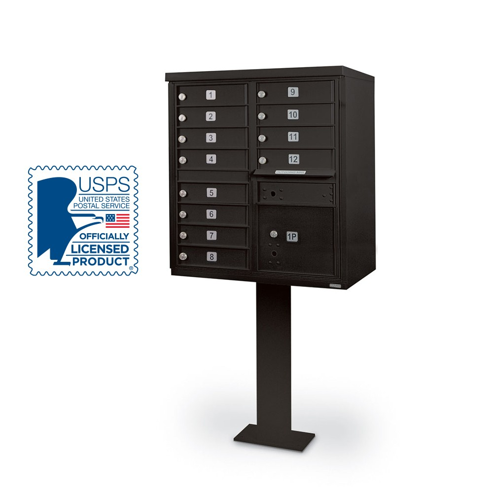 12 Door F-Spec Cluster Box Unit with Pedestal, Black