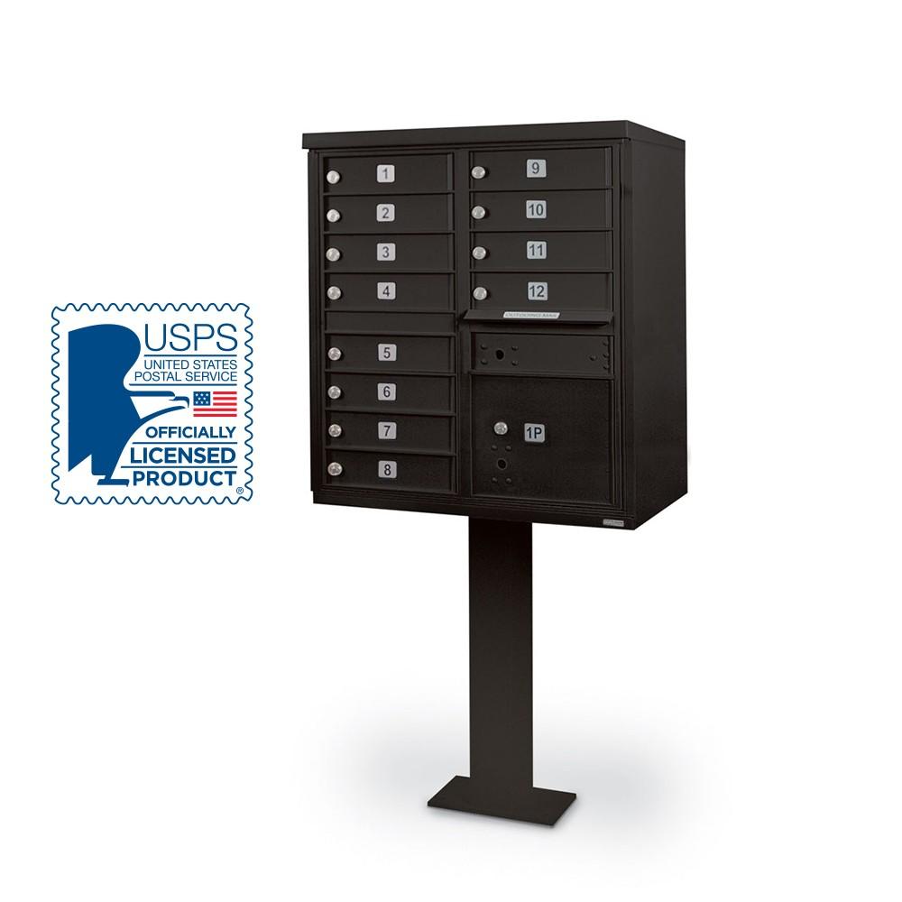 12 Door F-Spec Cluster Box Unit with Pedestal, Black
