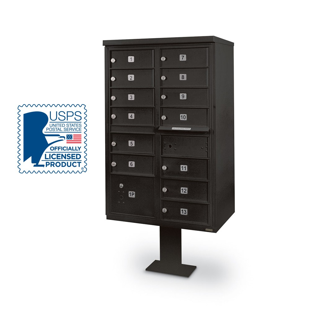 13-Door F-Spec Cluster Box Unit with Pedestal, Black