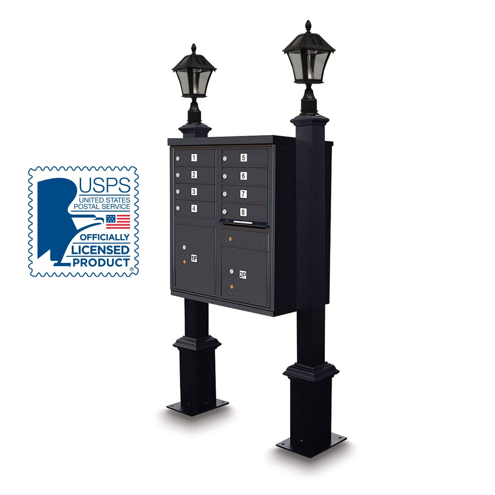 Decorative CBU Square Post with Solar Lamp Finial