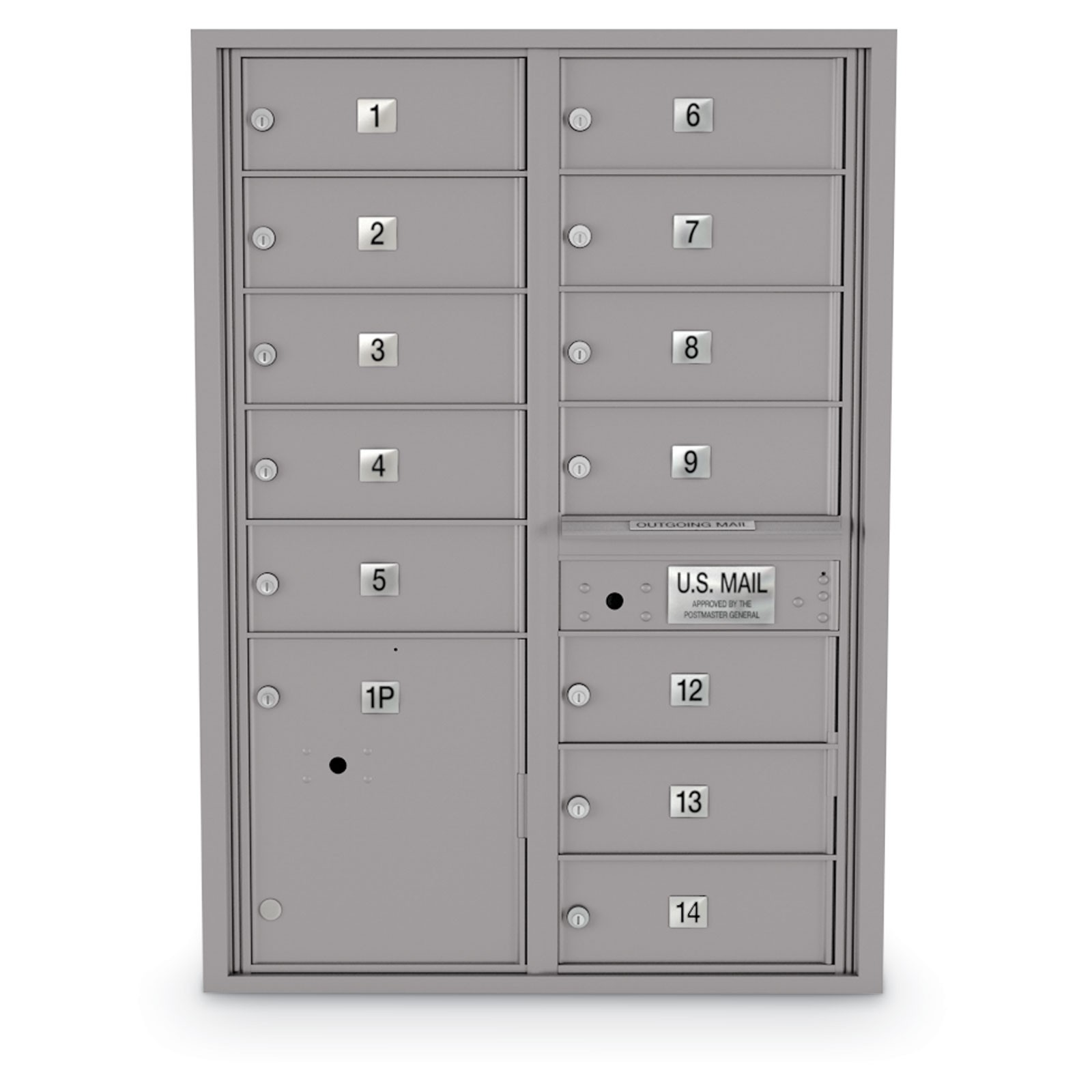 12 Door 4C Horizontal Mailbox - Oversized Doors - 1 Parcel Locker