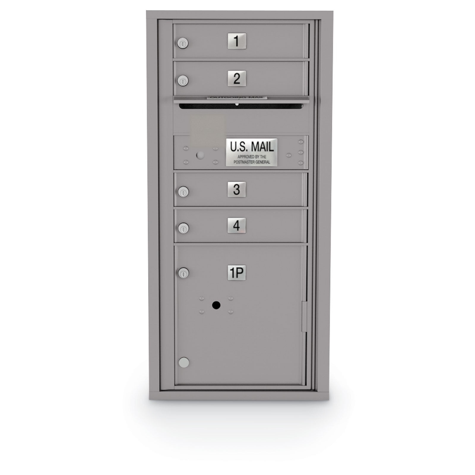 4 Door 4C Horizontal Mailbox - 1 Parcel Locker