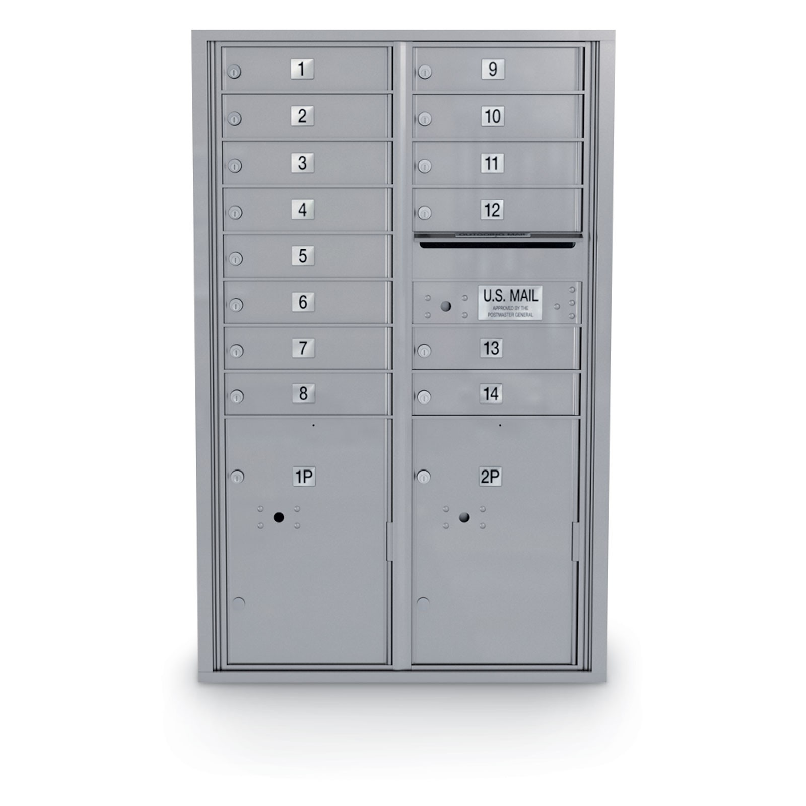 14 Door 4C Horizontal Mailbox - 2 Parcel Lockers