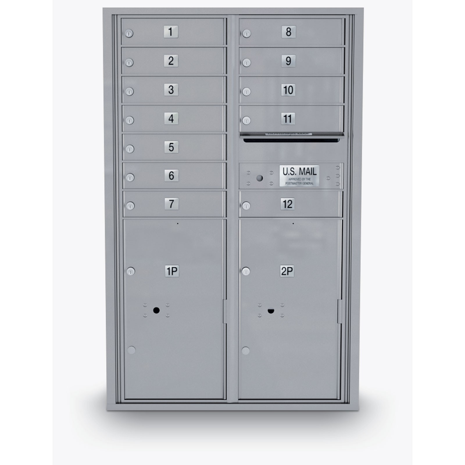 12 Door 4C Horizontal Mailbox - 2 Parcel Lockers