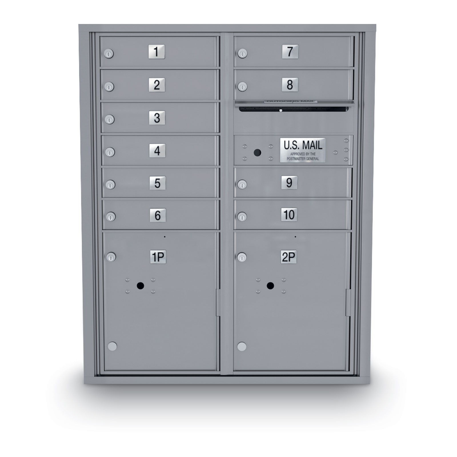 10 Door 4C Horizontal Mailbox - 2 Parcel Locker