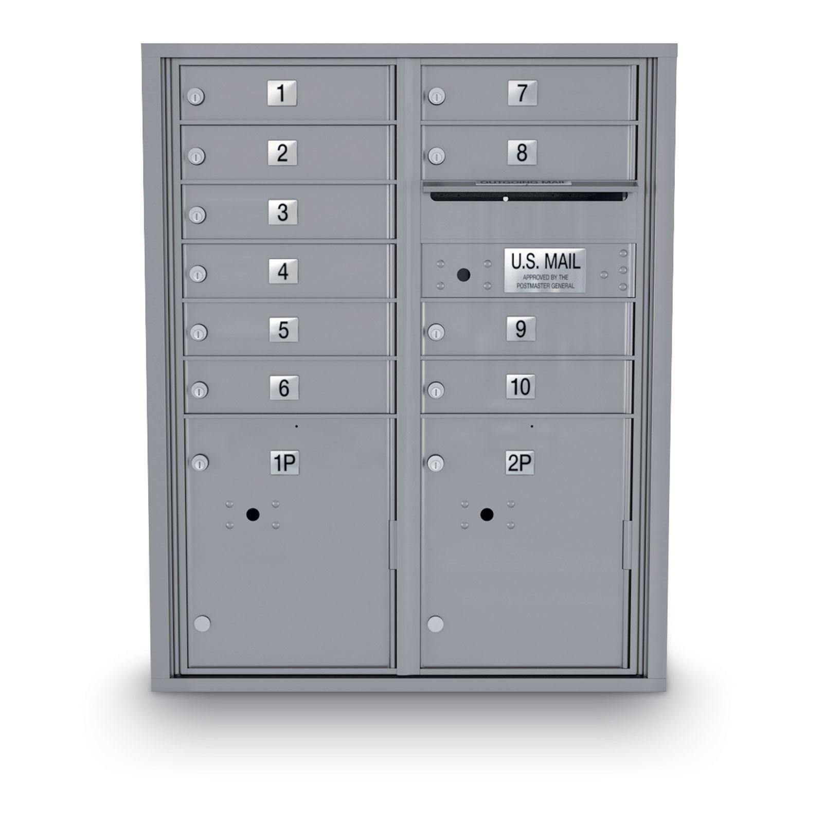 10 Door 4C Horiztonal Mailbox - 2 Parcel Locker