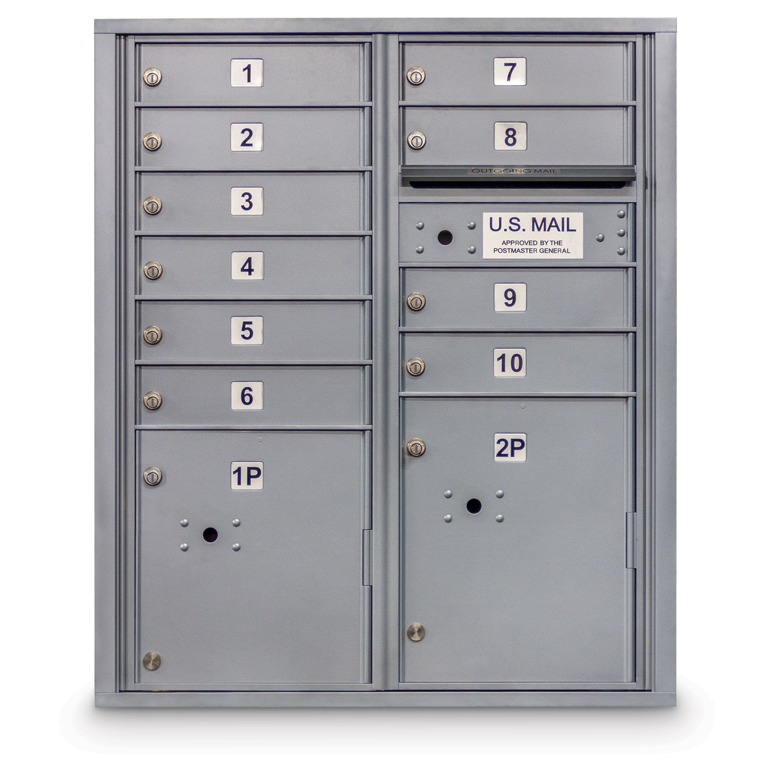 10 Door 4C Horizontal Mailbox - 2 Parcel Lockers - ADA Compliant